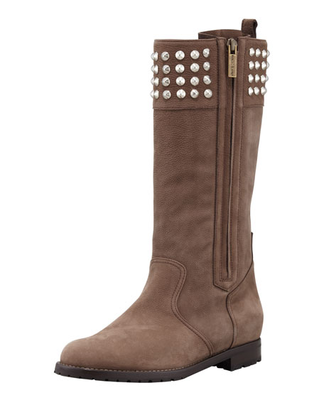 Ermebor Studded-Top Flat Mid-Calf Boot