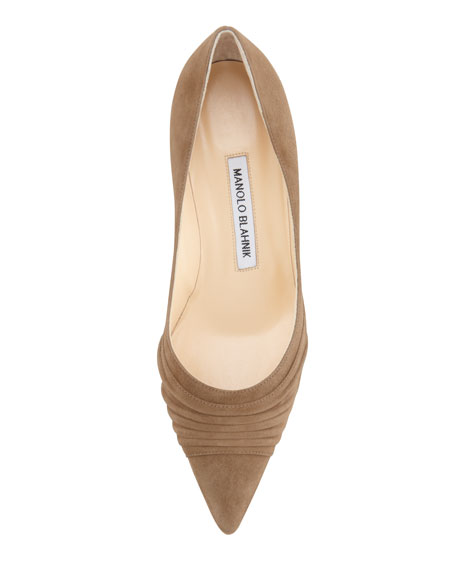 Golda Ruched Suede Pointy Pump