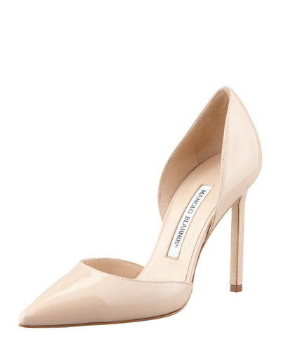 Manolo Blahnik Tayler Patent Pointed d'Orsay, Nude