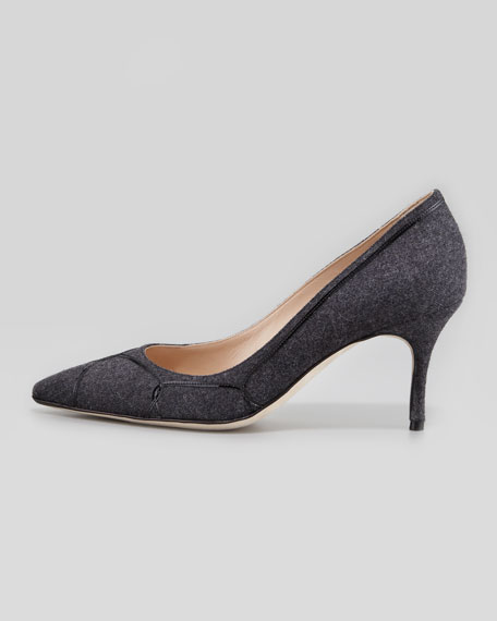 Cetto Patent-Flannel Pointy  Pump, Gray/Black