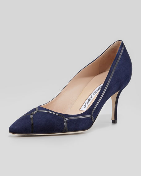 Cetto Patent-Suede Pointy Pump, Navy/Black