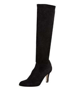 Manolo Blahnik Pascaputre Suede Knee-High Boot, Black