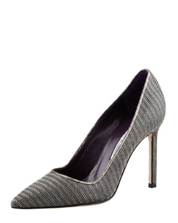 Manolo Blahnik BB Metallic Snake-Trim Mesh Pump