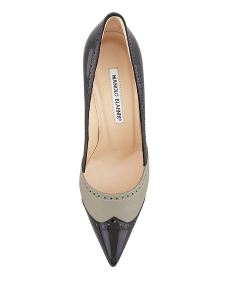 Agatapu Pointed-Toe Spectator Pump, Black