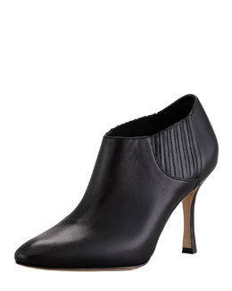 Manolo Blahnik Livrea Leather Gore Ankle Bootie