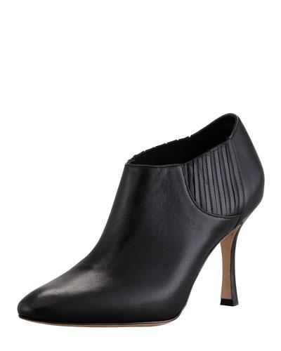 Manolo Blahnik Livrea Leather Gore Ankle Bootie