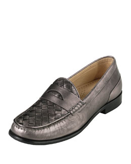 Cole Haan Laurel Metallic Woven Moccasin, Gunsmoke