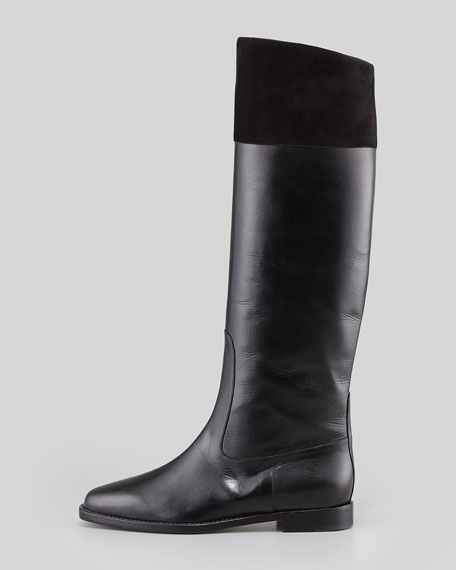 Bembo Leather & Suede Knee Boot, Black