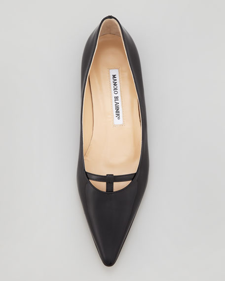 Kavanga T-Bar Pointy-Toe Flat, Black