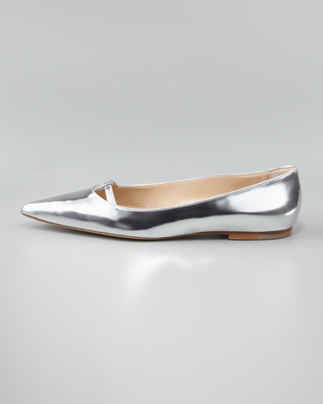 Kavanga T-Bar Pointy-Toe Flat, Silver