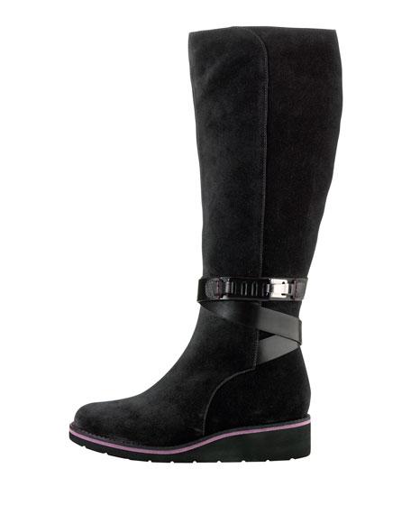 Gerina Suede Knee Boot, Black