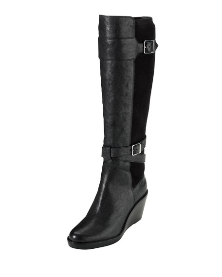 Patricia Leather Wedge Boot, Black
