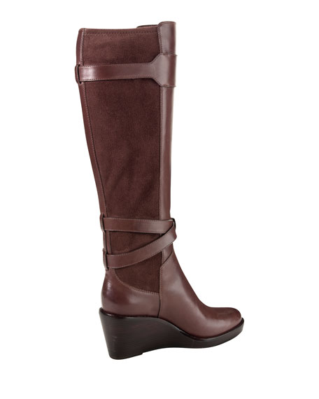 Patricia Leather Wedge Boot, Brown