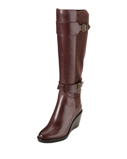 Cole Haan Patricia Leather Wedge Boot, Brown