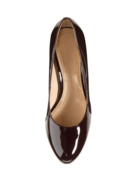 Chelsea Patent Low-Heel Pump, Chestnut