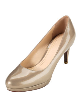 Cole Haan Chelsea Patent Low-Heel Pump, Pewter