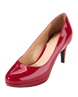 Cole Haan Chelsea Patent Low-Heel Pump, Tango Red