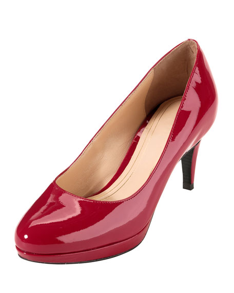 Chelsea Patent Low-Heel Pump, Tango Red