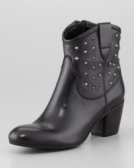 Favor Studded Leather Bootie, Black
