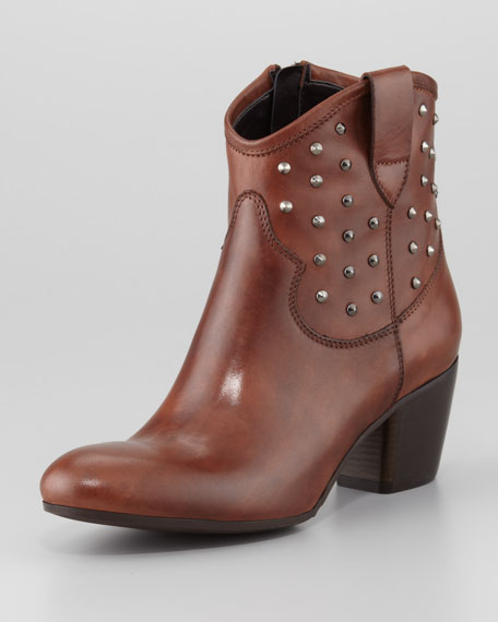 Favor Studded Leather Bootie, Dark Tan