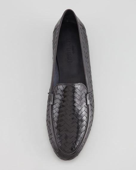 Nina Woven Leather Loafer, Black