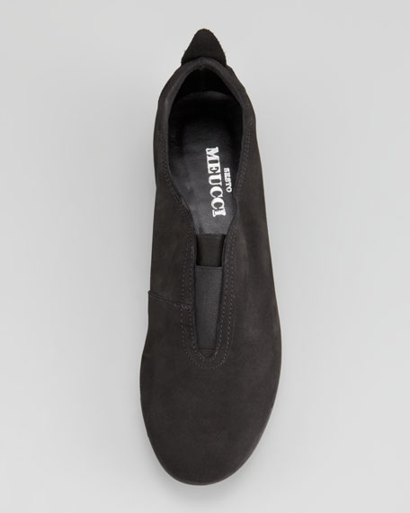 Ally Nubuck Leather Slip-On, Black
