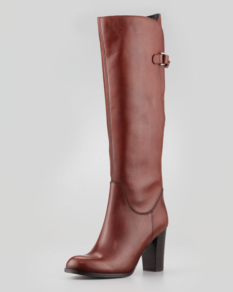 Buckled Leather Knee Boot, Tiziano
