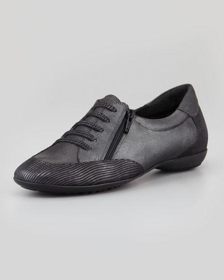 Beckie Metallic Leather Sneaker, Silver Smoke