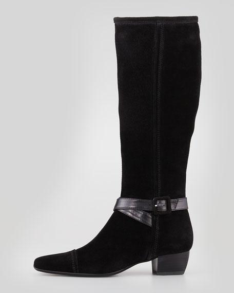 Dana Side-Buckle Suede Boot, Black