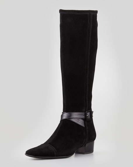 Dana Side-Buckle Suede Boot, Black