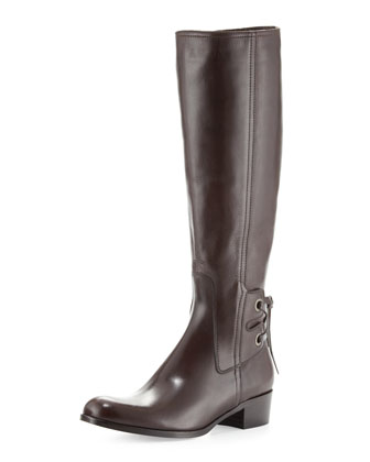 Bond Laced-Back Knee Boot, Moro