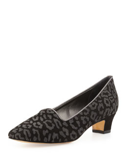 Sesto Meucci Animal-Print Suede Pump, Black/Gray