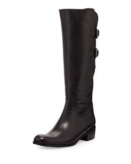 Sesto Meucci Double-Buckle Calfskin Knee Boot