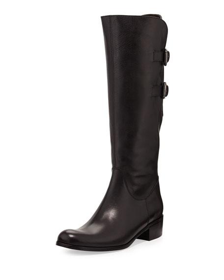 Double-Buckle Calfskin Knee Boot