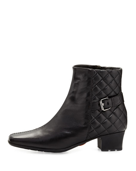 Waterproof Quilted Leather Bootie, Black