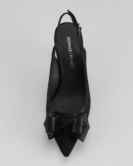 Evi Suede Bow Slingback Pump, Black