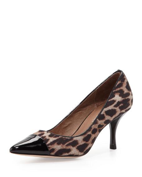 Eppy Leopard-Print Cap-Toe Pump, Camel/Black