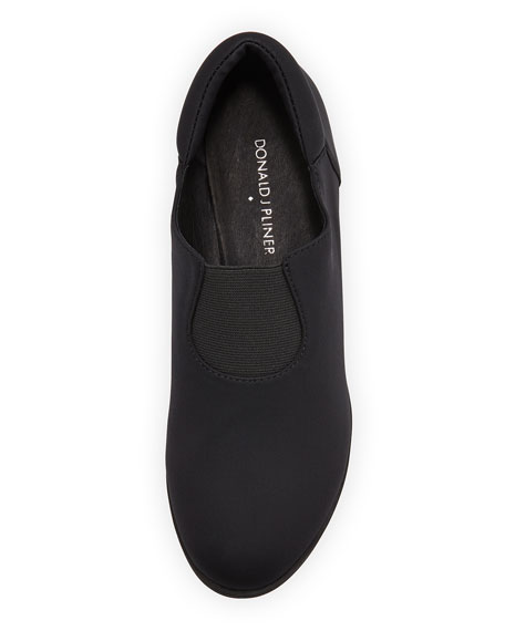 Maggie Crepe Slip-On Wedge, Black