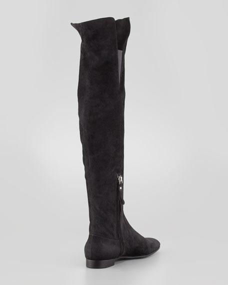 Giorgio Armani Suede Over-the-Knee Flat Boot, Black