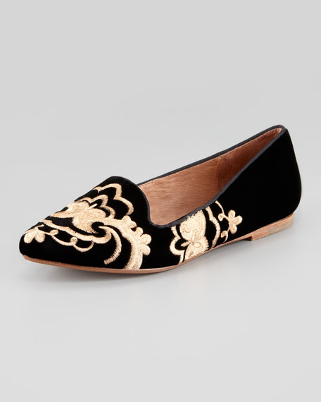 Sabina Embroidered Velvet Smoking Slipper, Black