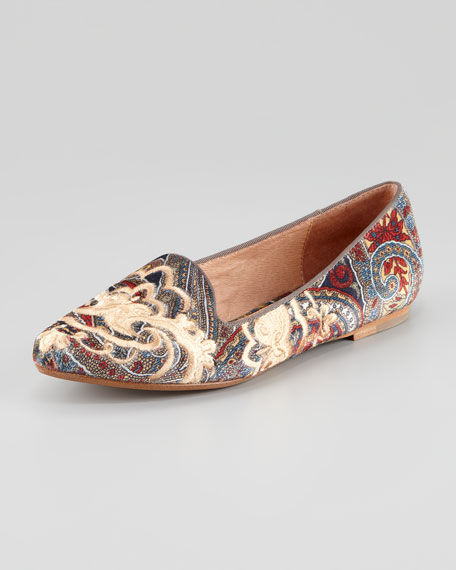 Sabina Embroidered Paisley Smoking Slipper, Multi