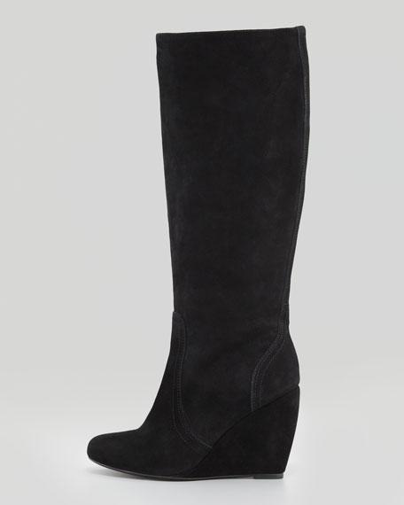 Paira Suede Wedge Knee Boot, Black