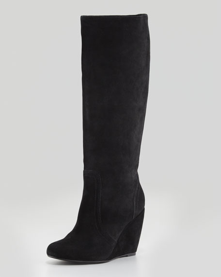 Paira Suede Wedge Knee Boot, Black