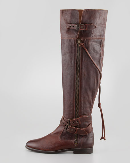 Nicoletta Buckled Over-the-Knee Shearling Boot