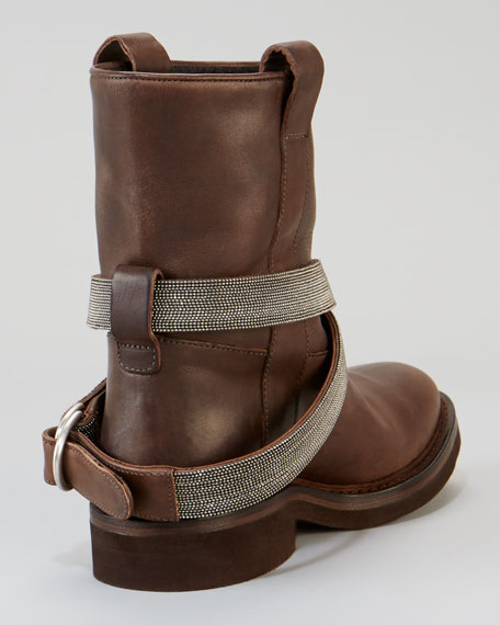 Low Western-Style Strapped Boot, Brown