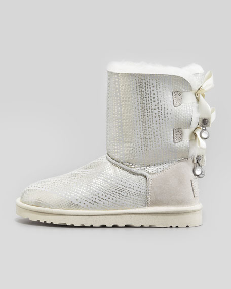 Holiday Bailey Bow-Back Short Boot, White