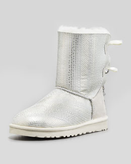UGG Australia Holiday Bailey Bow-Back Short Boot, White