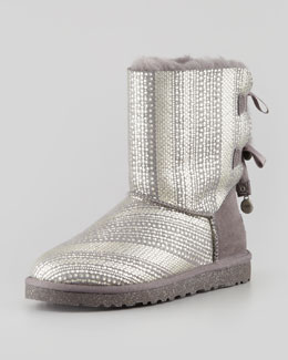 UGG Australia Holiday Bailey Bow-Back Short Boot, Gray