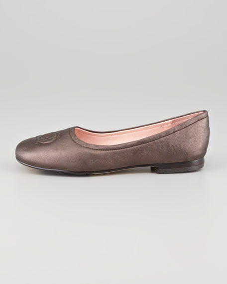 Barny Rose-Embossed Leather Flat, Bronze
