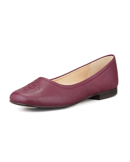 Barny Rose-Embossed Leather Flat, Port Wine